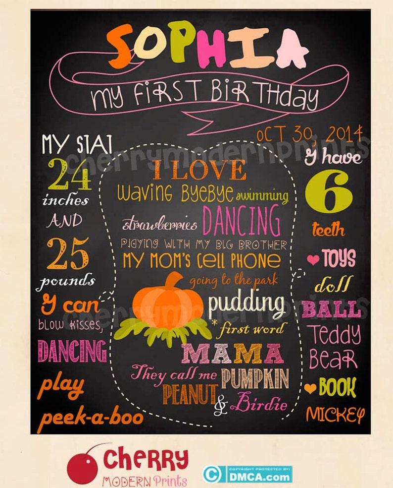 Size 16x20 inches SKU CBI16 First Birthday Chalkboard Sign  Printable Chalkboard Sign Colorful Pumpkin Birthday Chalkboard