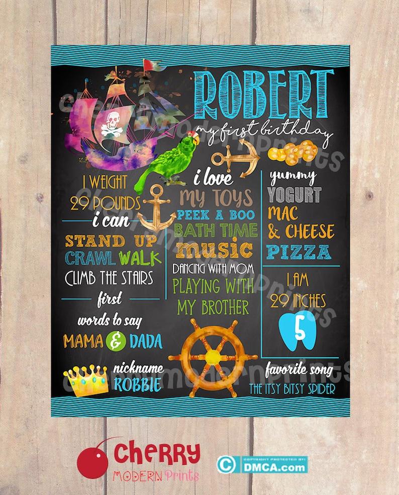 Size 16x20 inches First Birthday Chalkboard Sign  Printable Chalkboard Sign Ocean Treasure Theme Birthday Chalkboard SKU CBI249