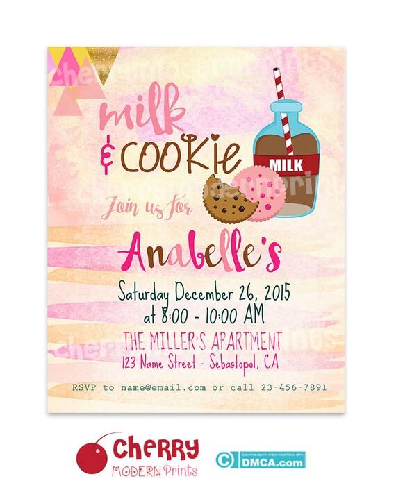Zaproszenia Urodzinowe Do Druku Rejestrowanie Mleko I Cookie Etsy