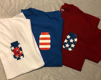 Patriotic Red White And Blue Fourth of July Shinin Monogramed Personalized T-Shirt