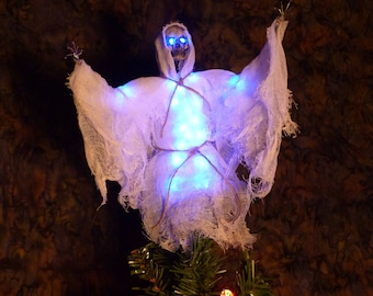 tree specter tree topper ghost light up led body and eyes battery operated ghost christmas tree ornament blue led lights ghostly blue - Led Christmas Tree Topper