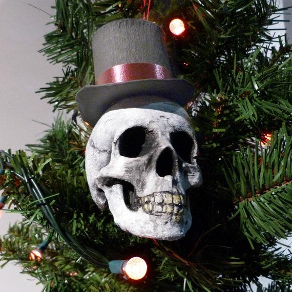 Christmas Top Hat Ornaments.Top Hat Skull Christmas Tree Ornament Scrooge Skull Comical Skull Skull With Top Hat Tree Hanger Skull Party Decoration Xmas Decor