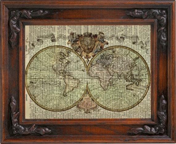 Old World Map Map Art Globe Art World Map Print Old Map Etsy