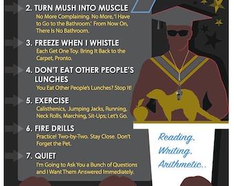 Arnold Schwarzeneggers Police School The Rules Of Kindergarten Cop Poster Plus Terminator Genisys PIN