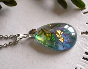 botanical jewelry resin necklace terrarium necklace birthday gift for women romantic necklace woodland jewelry blue necklace nature necklace