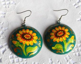 Sunflower Earrings yellow flower jewelry Green earrings, Sunflower jewelry birthday gifts for her lightweight earrings boho, summer jewelry