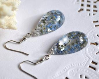 Forget me not earrings Resin plant jewelry Crystal earrings dried flower earrings wedding earrings bridesmaids gift for her botanical gift