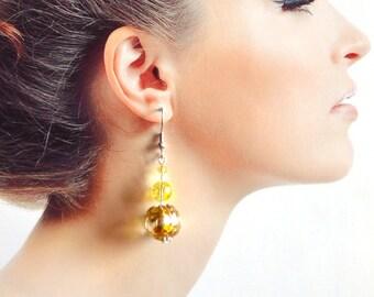 yellow earrings murano glass, crystal earrings dangle drop wedding earrings bridesmaids gift idea for her, boho earrings Lampwork Earrings