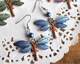 earrings dragonflies jewelry blue gift for girlfriend, wanderlust jewelry Earrings beads boho earrings birthday gift for her, nature jewelry