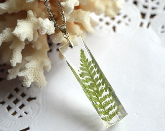 green necklace pendant forest fern resin necklace plant jewelry pressed flowers, organic jewelry crystal pendant, forest necklace terrarium