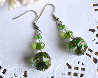 green earrings murano glass jewelry handmade glass earrings, summer earrings dangle drop earrings womens gift ideas, jewelry christmas gift