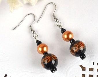 Orange earrings murano glass jewelry handmade glass earrings sister Gift idea, jewelry christmas gift Dangling Earrings cute eco jewelry art