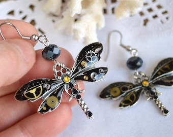 steampunk earrings Dragonflies jewelry gift for girlfriend Wanderlust jewelry boho earrings birthday gift for her Nature jewelry animal gift