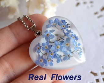 terrarium necklace Forget me not friendship gift, Pressed flower jewelry real flower necklace pendant Resin jewelry memorial gift for friend