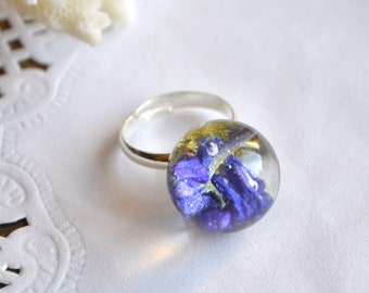 terrarium ring woodland ring resin ring sister gift for friend natural jewelry blue ring nature ring delphinium jewelry resin plant jewelery