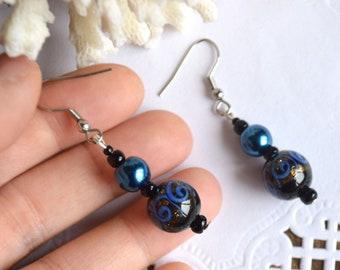 bohemian earrings dark blue Dangling Earrings murano glass jewelry handmade glass earrings sister Gift ideas jewelry cute earrings statement