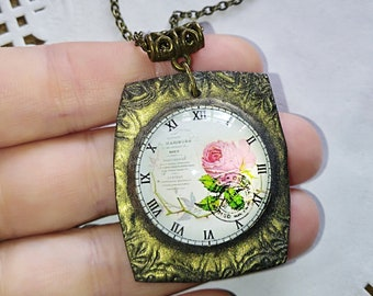 Pendant necklace Glass jewelry clock necklace sister gift ideas, statement necklace resin jewelry polymer clay art deco jewelry unique gift