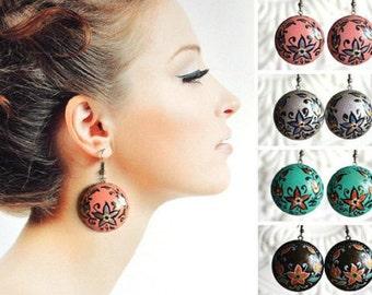 wooden Earrings, Dangling earrings handpainted pink jewelry Handmade Gift idea for her Casual earrings folk art, round earrings eco jewelry