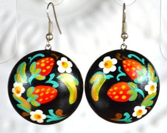 strawberry Boho Earrings red black present, holiday earrings round exclusive Jewelry folk bridesmaid Gift for her painting jewelry black red