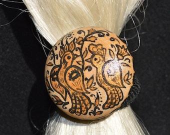 Scrunchy Birds Hair Jewelery Wooden Desing Scrunchy gift|for|women Handmade Jewelery Scrunchy Gift|for|her Folk Art Black|and|gold boho chic