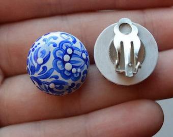 earrings wedding Jewelry blue clip earrings Flower Clip On Earrings non pierced flower earrings Gift idea earrings Handmade wood earrings