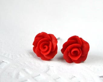 red rose earrings sister gift for her valentines gift, summer gift children jewelry party Stud Earrings red flower polymer clay jewelry tiny