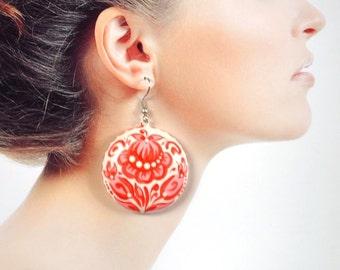 White Red flower earrings handmade gift for women earrings flower Unique gift ideas romantic earrings sister gift elegant Jewelry holiday
