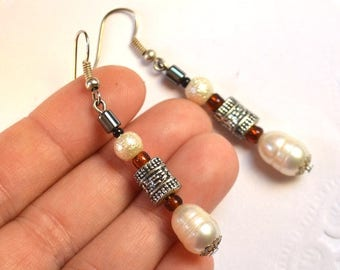 pearls earrings pearls jewelry gift for her girlfriend gift birthday gift christmas gift womens gift dangle earrings drop earrings christmas