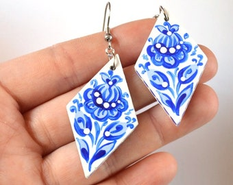 blue jewelry blue earrings wife gift for women birthday gift wedding gift bridal jewelry anniversary gifts pretty earrings white earrings