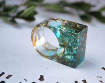 resin ring for women birthday gift for her, statement ring green moss ring resin flower ring resin clear ring, moss resin jewelry girls ring