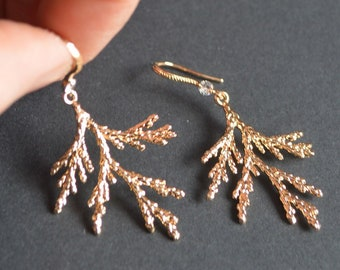 gold leaves earrings twig plant jewelry real gold hooks gift for her floral earrings girlfriend gift for mom gift for sister gift for women