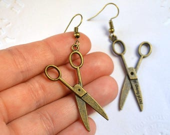 scissor bronze jewelry Cute earrings crafter gift for women dangle earrings scissor jewelry hairdresser gift seamstress jewelry hairdresser