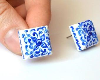 White blue tiny studs earrings post earrings bohemian jewelry wife gift for women present wedding earrings blue Studs wedding gift for mom