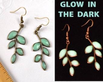 green leaves earrings glow jewelry, mint leaft Jewelry glow in the dark Glowing jewelry, glowing in the dark jewelry gift for her earrings