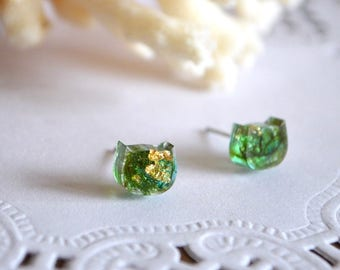 tiny stud earrings cats lover gift idea, cat stud earrings cute gifts for women tiny earrings, resin earrings funny animal cats jewelry mom