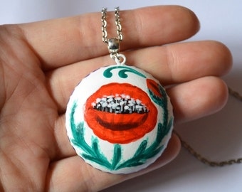womens gift for her Fashion Necklace statement necklace tribal pendant ethnic pendant womens necklace boho pendant White Red poppy jewelry