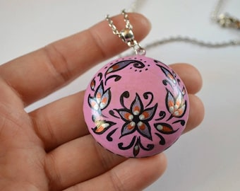 handmade necklace botanic jewelry flowers pendant bright jewelry gift for daughter pink necklace casual jewelry flower necklace best gift