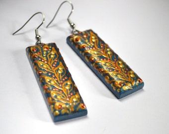 Long blue earrings handmade jewelry Wooden earrings paint bright Earrings Drop Gold Denim ethnic earrings grandma gift for her eco jewelry