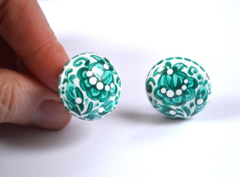 green Clip On Earrings wedding Jewelry green wedding gift for image 0