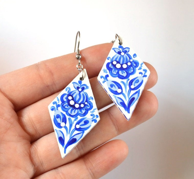 blue jewelry blue earrings wife gift for women birthday gift image 0