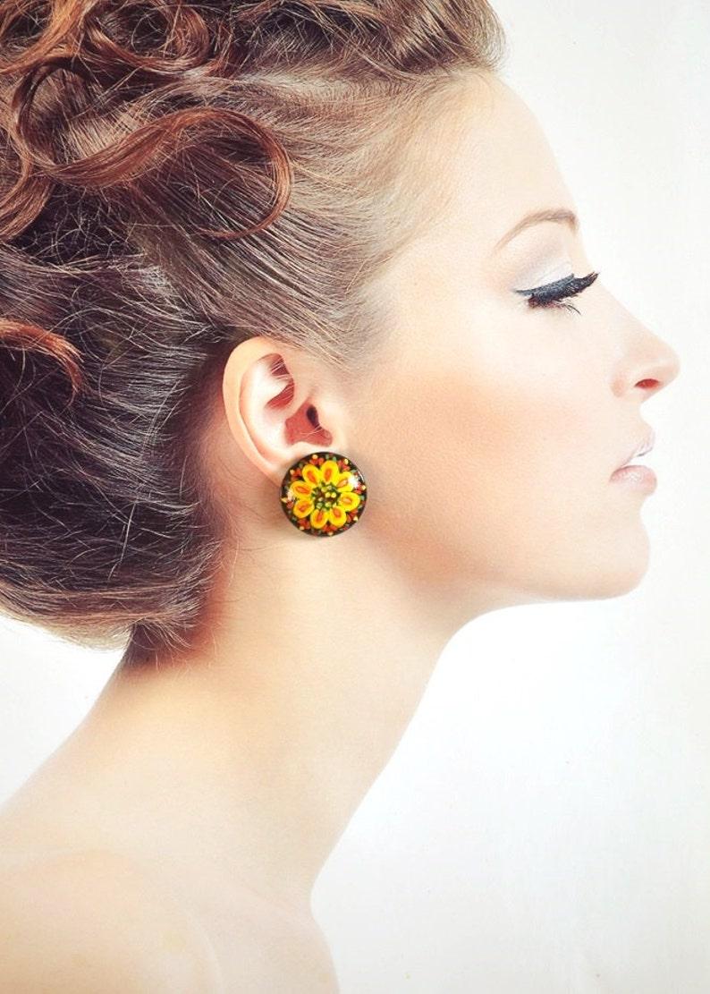 black Yellow flower earrings boho jewelry wooden paint Gift image 0