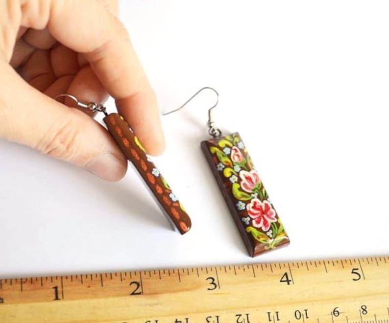 handmade earrings womens gift for her Long earrings brown paint earrings boho wood jewelry ethnic earrings folk jewelry mom gifts for women