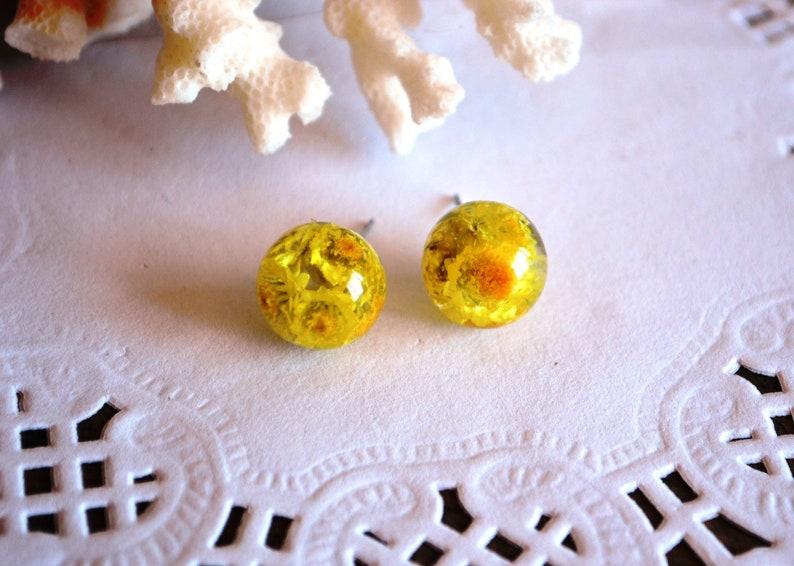 yellow stud crystal earrings dried flowers earrings wedding earrings bridesmaids gift idea for her boho Handmade earrings plant jewelery eco