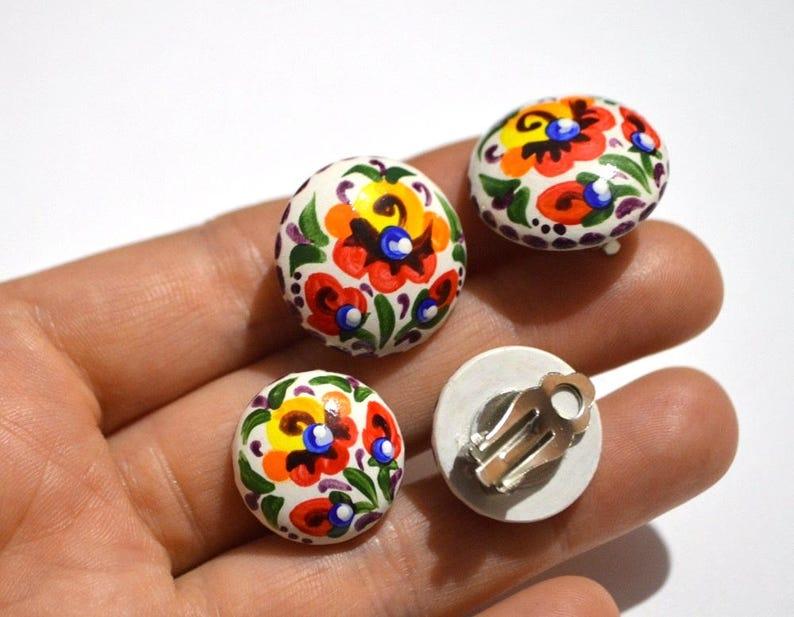 rainbow earrings hippie jewelry non pierced Clip On Earrings image 0