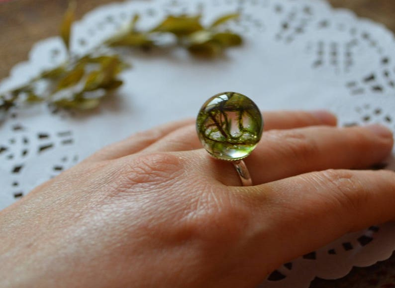green woodland ring resin ring sister gift for friend image 0