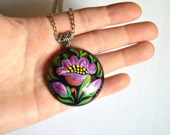 hand painted Pendant lilac flower pendant bridesmaids gift for her paint pendant floral pendant jewelry ethnic pendant wood necklace purple