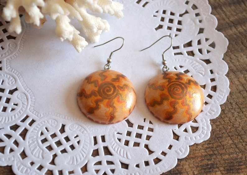 rustic wedding ethnic earrings hippie sun jewelry gift for her rustic wood gifts for mom gift women gift for wife golden brown earrings eco