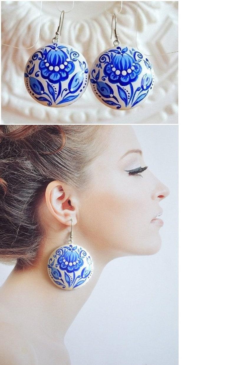 wedding earrings dangle earrings Bridal earrings Blue white image 0