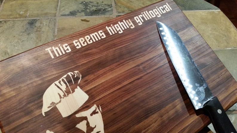 Grill 9x13x34 Highly Grillogical Cutting board Science Fiction unique Christmas Gift Spock Highly Grillogical Trekkies kitchen