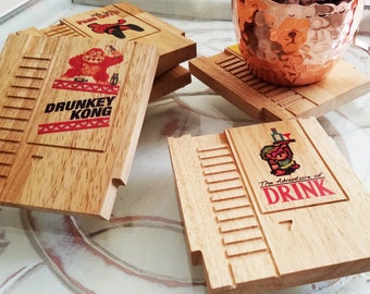 Retro 8 bit COLOR mini wood Coasters with FREE SHIPPING - select up to 6 Punny titles, Old school, 8Bit, Pixel, Gamer, Video Game